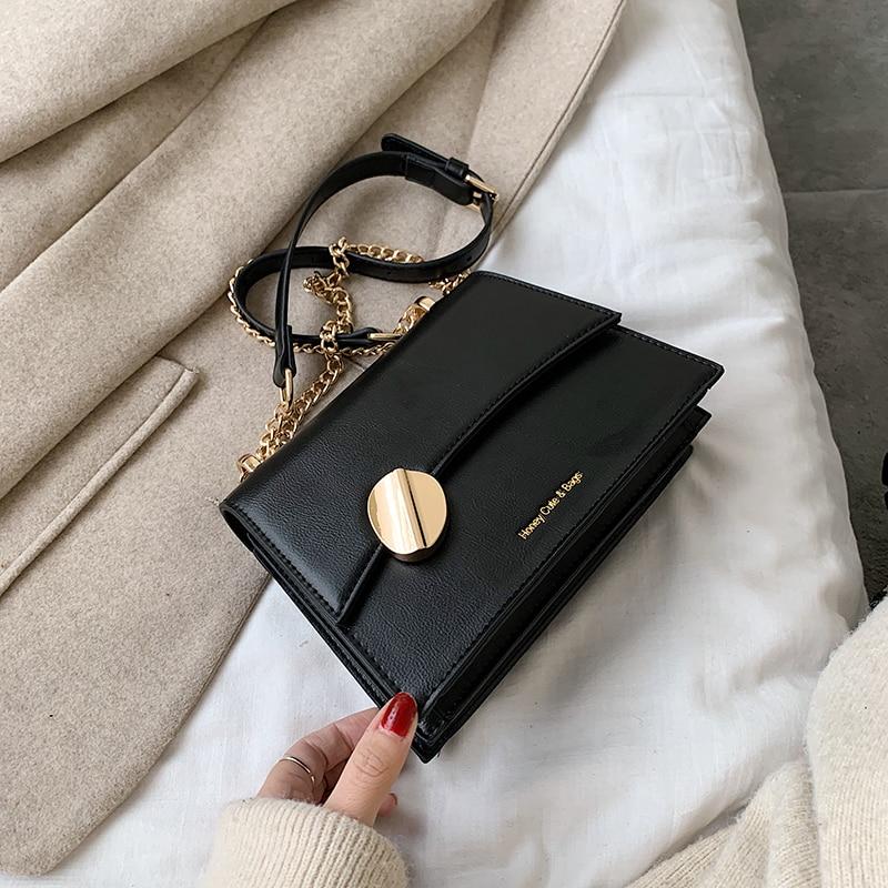 2020 New Women's Bag Solid Color PU Shoulder Messenger Bag Fashion Casual Women Bag Black Ladies Bag Chain Bag