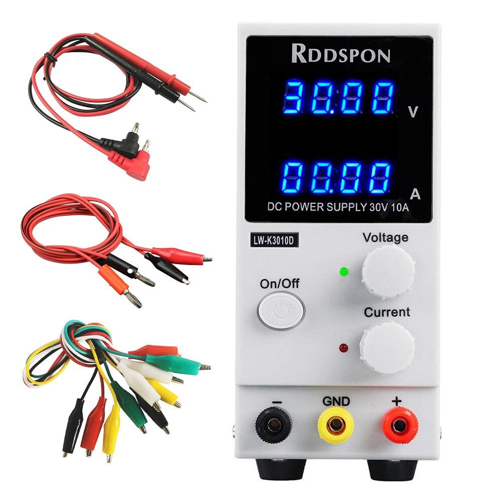 Mini fuente de alimentación de laboratorio ajustable 30V 10 a pantalla de 4 dígitos K3010D Reparación de teléfono portátil regulador de conmutación DC fuentes de alimentación