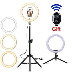 Светодиодный кольцевой светильник для фотосъемки светильник ing селфи лампа USB с регулируемой яркостью со штативом для Youtube Tiktok макияж мобил...