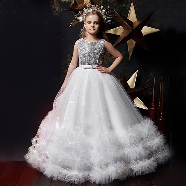 Sequined Christmas Dress 6-14Y Kids Dresses for Girls Flower Girl Wedding Evening Children Clothing Princess New Year Costume 2