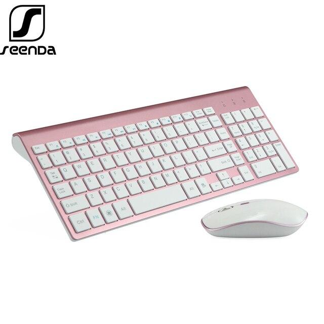 SeenDa البصرية اللاسلكية لوحة مفاتيح وماوس مشط الصامت انقر Mutimedia 2.4 جرام لوحة مفاتيح بمنفذ USB ماوس مجموعة ل دفتر اللوازم المكتبية