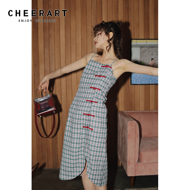 Женское клетчатое платье Cheongsam, винтажное платье до колена с лягушкой, платье на бретельках Платья      АлиЭкспресс