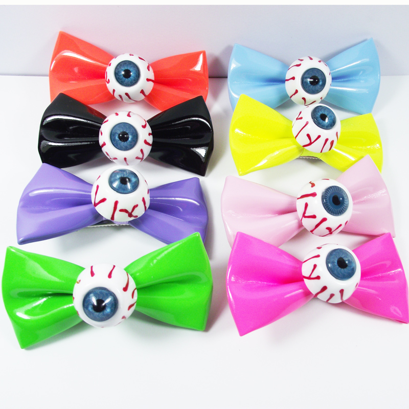 New Fashion 2Pcs Punk Eyes Hair Clips Bow Barrettes Halloween Hair Accessories For Women Girls Harajuku Hairpins Kids Hairgrips