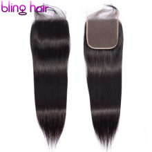 bling hair Brazilian Straight Human Hair Closure 4*4 Lace Free/middle/three Part Remy Lace Closure Natural Color Free Shipping