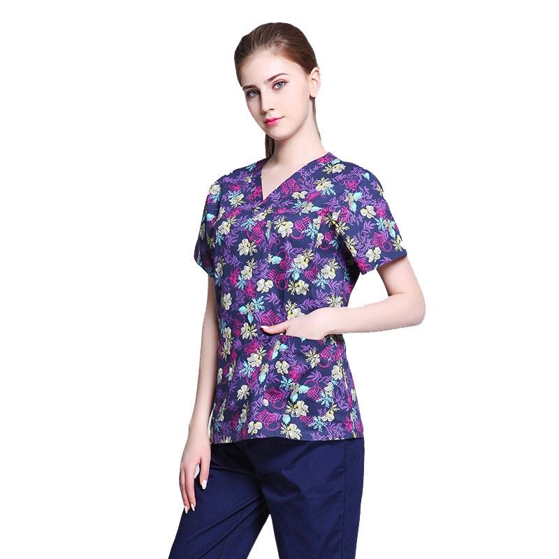 Pattern Women Nursing Uniforms Medical Scrub Clothes Sets Suit Slim Fit Dental Scrubs Beauty Salon Men Nurse Uniform Workwear
