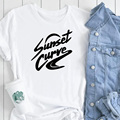 Закат изогнутая женская футболка 2020 футболка хлопковая с коротким рукавом Футболка Julie and The Phantoms модная футболка с графическим принтом