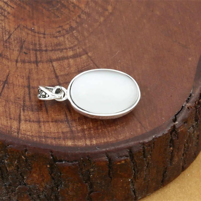 925 Sterling Silver Perhiasan Retro Thai Perak Pria dan Wanita Model Hollow Batu Permata Opal Inlaid Liontin Perhiasan