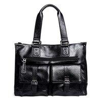 2019 new men handbag leather men's shoulder bag men's travel bag British retro style messenger Large capacity bag