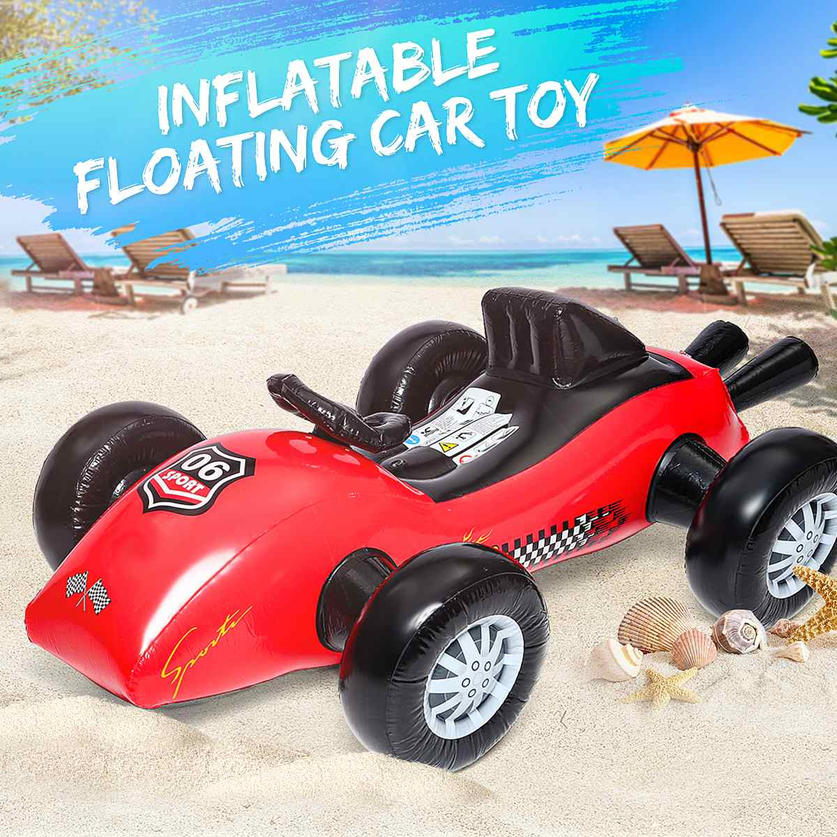 Summer Inflatable Float Car Beach Water Toy Kids Seat Boat Swim Pool Accessories Swimming Environmentally Friendly PVC Durable