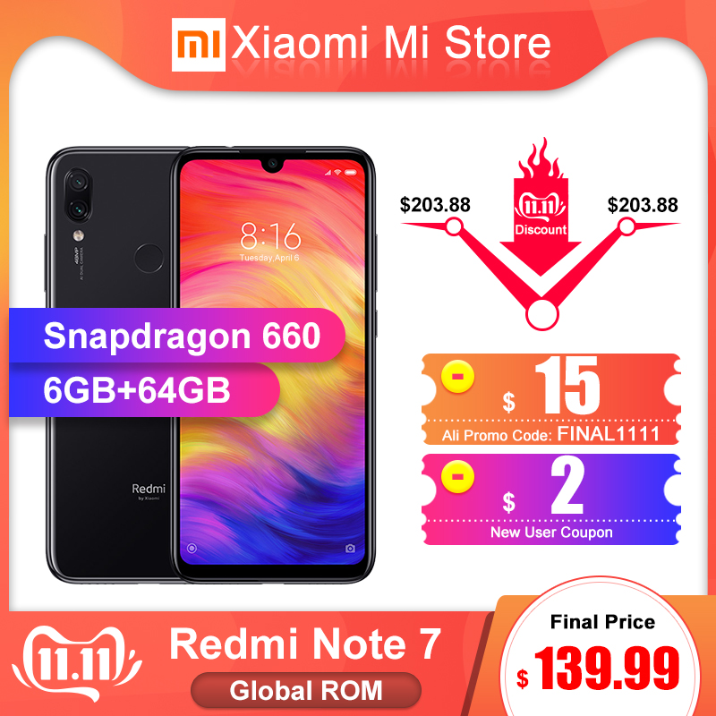 In Lager Globale ROM Xiaomi Redmi Hinweis 7 6GB RAM 64GB ROM Smartphone Snapdragon 660 6,3