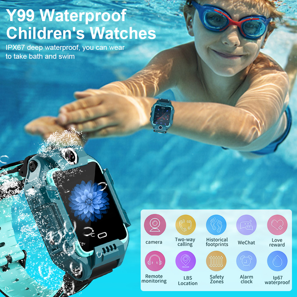 Y99 Kids Smart Watch Children 4G Video Call Phone Smartwatch GPS Positioning Wrist Watches Sports Fitness Tracker Dual Camera