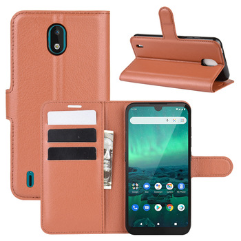 10pcs/lot PU leather Flip Wallet Litchi Pattern Phone Case For Nokia 1.3 C1 Lychee Grain Cover