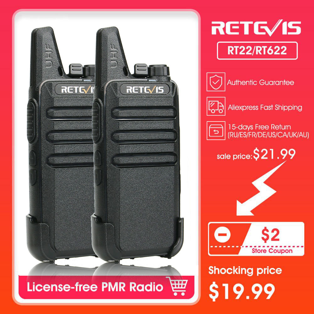 Walkie Talkie 2pcs RETEVIS RT22/RT622 PMR PMR446 FRS VOX UHF USB Charging Mini Walkie-talkies Two-Way Radio Station Woki Toki