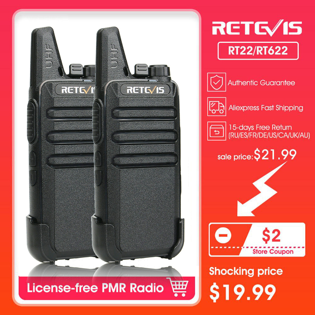 $ US $19.16 Walkie Talkie 2pcs RETEVIS RT22/RT622 PMR PMR446 FRS VOX UHF USB Charging Mini Walkie-talkies Two-Way Radio Station Woki Toki