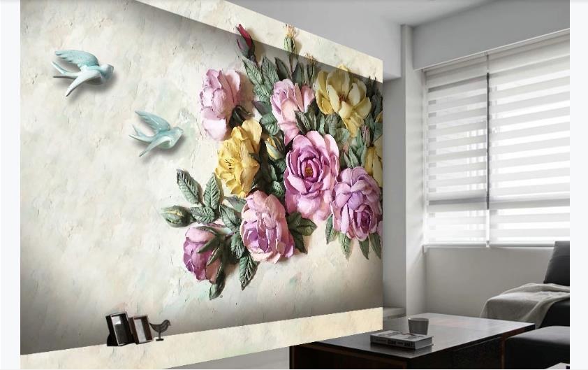 Custom European Wallpaper 3D Living Room Wallpapers For Wall 3D Embossed Rose Flower Bird Wallpaper Brick