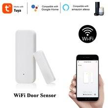 Sensor inteligente de porta e janela tuya, alarme compatível com alexa e google home 2.4g controle sem fio por aplicativo segurança para casa