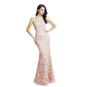 Image 3 - Prawdziwy obraz długie koronkowe Mermaid suknie wieczorowe szybka dostawa cekinami O Neck otwórz wróć kobiety formalne sukienki na przyjęcie OL212