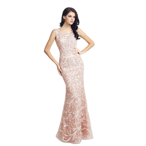 Image 3 - Real Picture Long Lace Mermaid Evening Dresses Fast Delivery Sequined O Neck Open Back Women Formal Party Gowns OL212