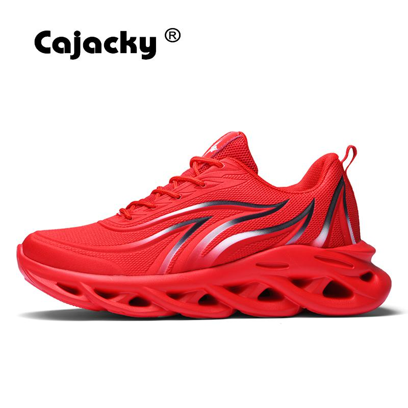 Cajacky Men Running Shoes Summer Breathable Air Mesh Sneakers Adult Jogging Trainers Lace Up Zapatillas Hombre Lightweight Shoes