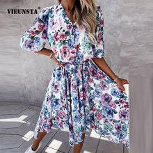 Elegant Half Sleeve Button V Neck Midi Dress Summer Chiffon Tie-Up Slim Irregular Dress Women Floral Digital Print Party Dresses