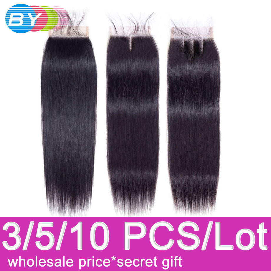 Straight Hair Closure Brazilian 4x4 Swiss Lace Closure Free/Middle/Three Part 8 To 22 Inch Remy Human Hair Lace Closures