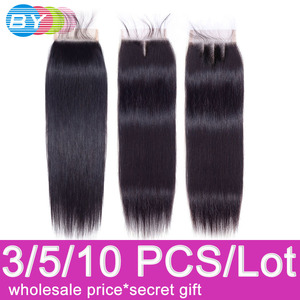 Straight Hair Closure Brazilian 4x4 Swiss Lace Closure Free/Middle/Three Part 8 To 22 Inch Remy Human Hair Lace Closures(China)