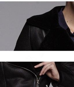 Image 5 - AYUNSUE 정품 가죽 자켓 자연 양 Shearling 모피 코트 겨울 자켓 여성 100% 양모 코트 여성 폭격기 자켓 MY