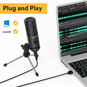 MAONO AU-PM461TR USB Microphone Condenser Recording PC Mic for Online Teaching Meeting Livestreaming Gaming With Tripod Stand 2