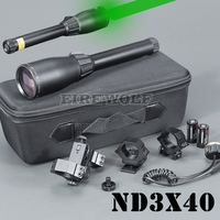 Green Laser ND3 x40 Long Distance Laser Designator Pointer with Ring Mounts for Hunting Tactical green laser flashlight