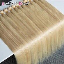 32 34 36 38 Polegada 613 mel loira pacotes tecer cabelo brasileiro feixes de trama forte em linha reta feixes de cabelo humano extensão remy