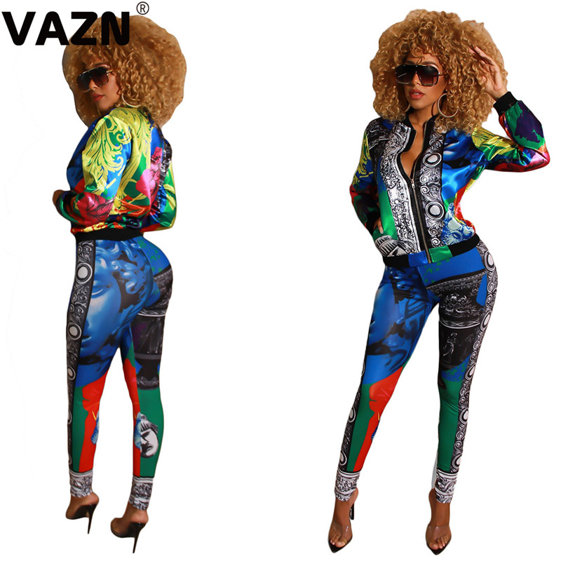 VAZN YC1952 Hot Sport Style New Sport Lady 2019 Sexy 2 Piece Women Set Print Fashion Neck Zip Full Sleeve Long Pant Bodycon Set