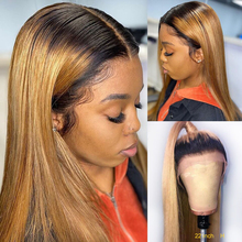 Human-Hair Lace Wigs Honey-Blonde 6inch Plucked Color Straight Brazilian 1B/27 KL