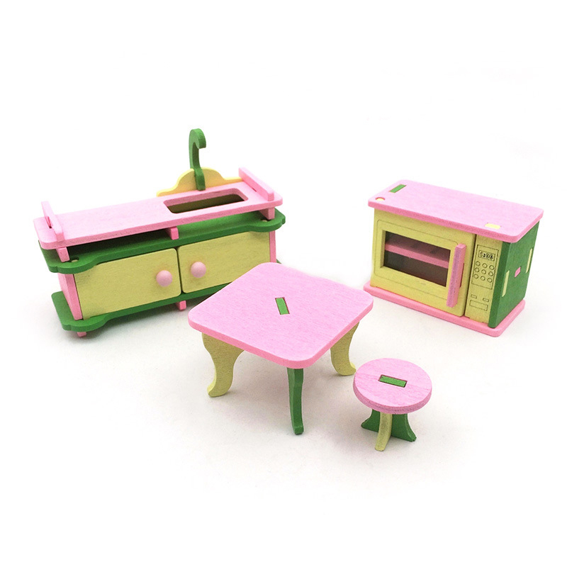 Kids Pretend Play Wooden Delicate Miniature Dollhouse Furniture Toys Set For Dolls Bedroom Kitchen Nursing Room Dolls Toys Gifts