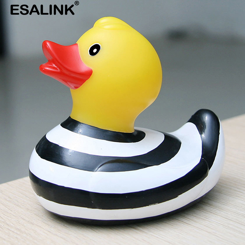 ESALINK 9.5Cm Baby Bath Toys Pvc Rubber Duck Bath Toys Black And White Striped Duck Bath Toys For Kids Pinch Called Baby Toys