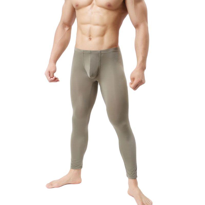 1PCs Sexy Men  U Pouch Legging Ice Silk Transparent Capris Sexy Tight Pocket Pajama Breathable Trousers FX1018