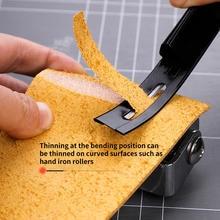 Aço moderno beveler skaver de segurança desbaste faca lâmina artesanato couro diy costuras ferramenta para casa artesanal acessórios + 3 lâminas