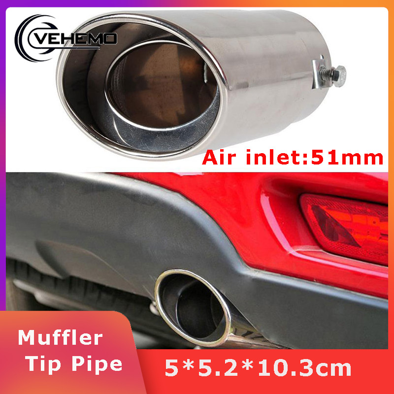 Vehemo Diameter 51-51mm Car Tail Pipe End Tip Muffler Tip Pipe Stainless Steel Noise Reduction Outlet Rear Vehicle Exhaust Auto