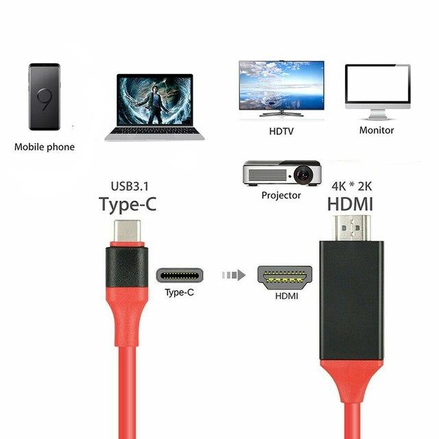 Larryjoe 2m USB C 3,1 zu HDMI 4K Adapter Kabel Typ C zu HDMI Kabel für MacBook Samsung galaxy S9/S8/Hinweis 9 Huawei USB-C HDMI