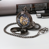 Top Steampunk Luxury Antique Black Skeleton Mechanical Pocket Watch Men Chain Necklace Business Casual Pocket Watches 2020 New