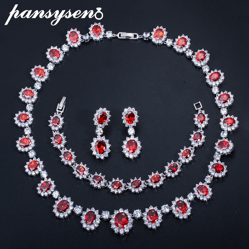 PANSYSEN European Style Ruby Emerald Sapphire Gemstone Wedding Party <font><b>Jewelry</b></font> <font><b>Sets</b></font> for Women <font><b>Silver</b></font> <font><b>925</b></font> <font><b>Jewelry</b></font> <font><b>Set</b></font> Fashion Gifts image