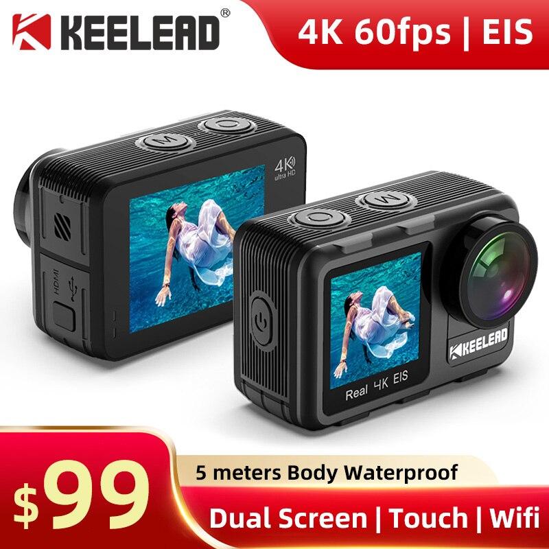 Экшн-камера KEELEAD K80, 4K, 60 кадров/с, EIS, 5-40 м, водонепроницаемая, 20 МП, 2,0 дюйма, сенсорный ЖК-дисплей 1,4 дюйма, веб-камера с двойным экраном, Wi-Fi, Спо...