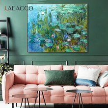 Laeacco Water Lily Monet Canvas Painting Poster Prints Oil Painting Picture For Home Living Room Bedroom Wall Decor Flower Salon