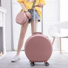 Mala redonda pequeno trole caso senhoras de 20 polegadas de peso leve lockbox ins mala de embarque roda universal avant-garde moda