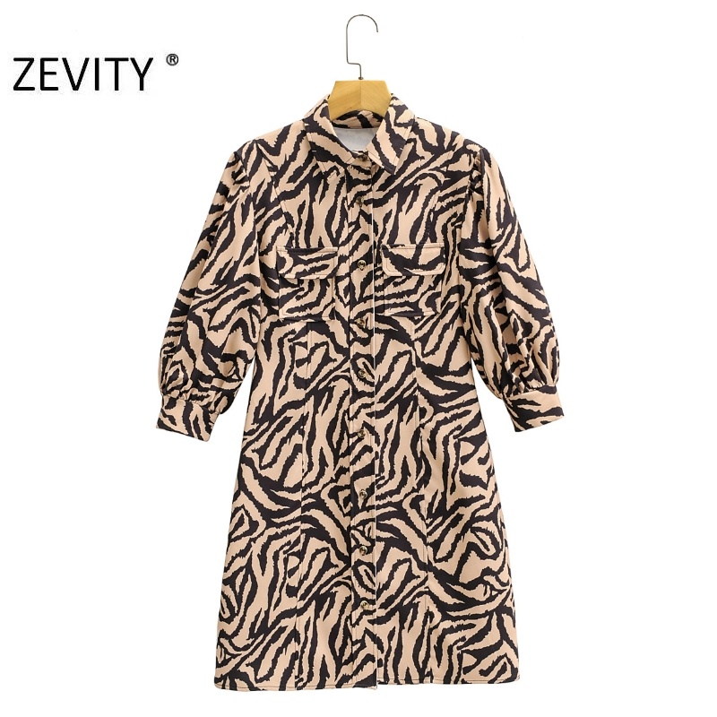 ZEVITY Women vintage animal pattern print short shirt Dress Office Lady poskets patch lantern sleeve Vestido Chic Dresses DS4354