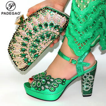2020 New Design Women Matching Shoes and Bag Set Office Lady Shoes and Bag in Green Color Mature Style Shoes for Party