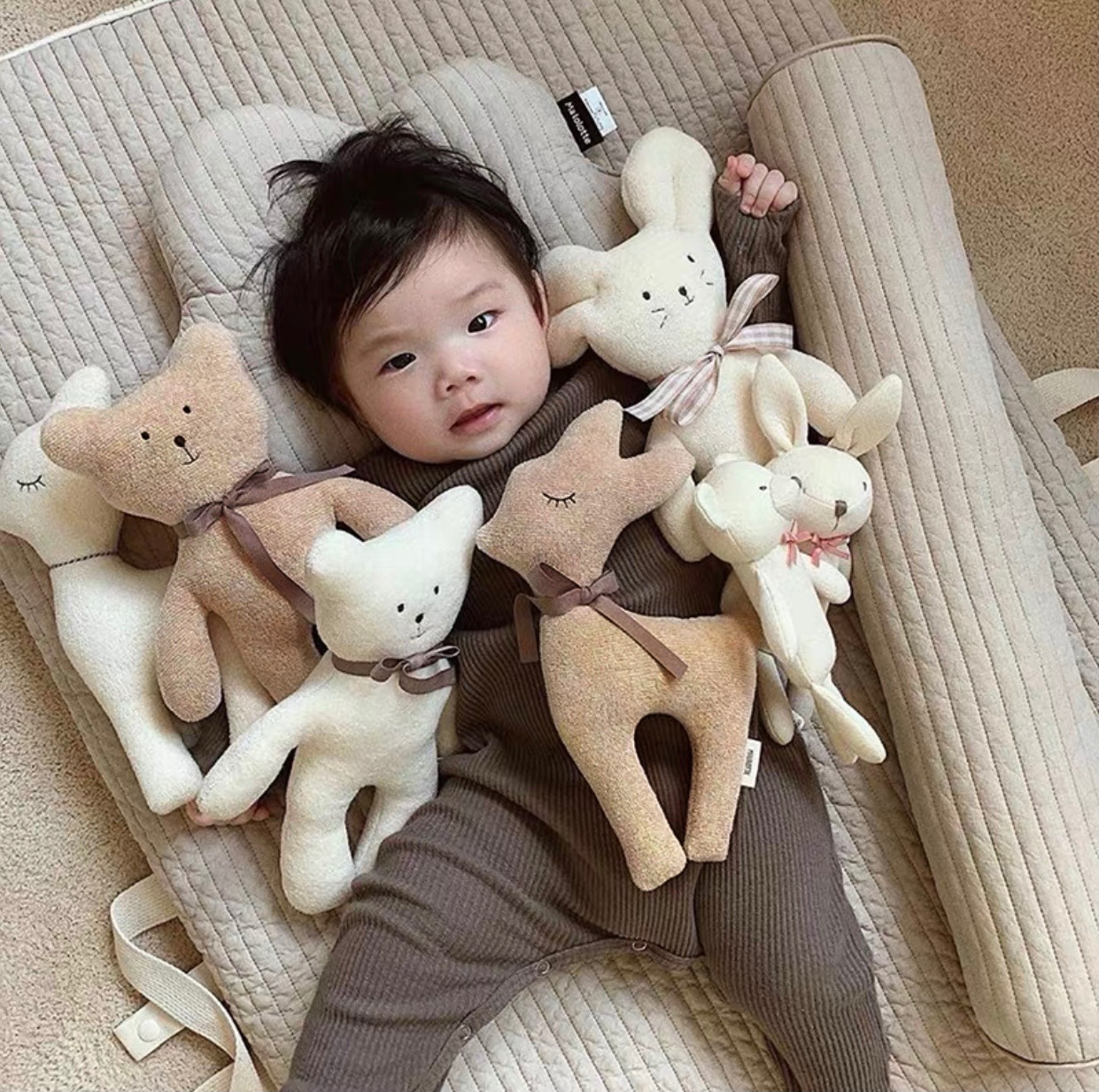 Ins Nordic Style Cartoon Plush Toy Cute Soft Stuffed Animal Baby Comfort Doll Calf Bear Deer Mouse Doll Children's Holiday Gift