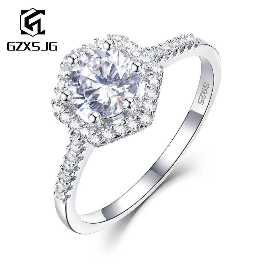 GZXSJG Moissanite anneaux pour femmes 925 bague en argent Sterling D couleur VVS1 Moissanite fiançailles mariée cadeau Unique bijoux fins