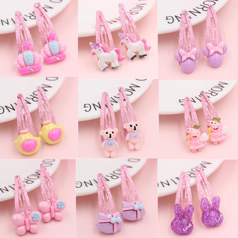 2Pcs/lot Mix Color Barrette Baby Hair Clip Cute Flower Solid Cartoon Handmade Resin Children Hairpin Girl Hair Clip Accessories