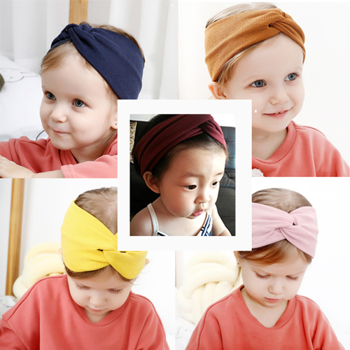 Autumn Solid Color Baby Headband For Girls Twisted Handmade Bow Baby Turban Hairband Newborn Children Simple Hair Accessories