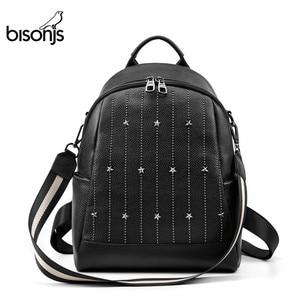 Image 1 - BISONJS Multifunction Backpack Female Genuine Leather Ladies Shoulder Bags Brand Small Women Backpack mochila feminina B1853